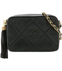chanel pre-owned 1986-1988 tassel diamond-quilted shoulder bag - black