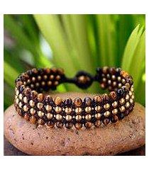 tiger's eye wristband bracelet, 'golden dawn' (thailand)