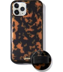 sonix brown tort phone 11 pro case & slide silicone phone ring - brown