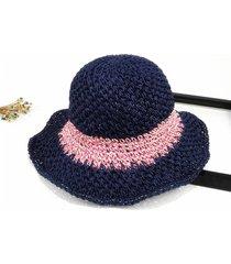sombrero para mujer, hecho a mano paja ganchillo sra.-azul