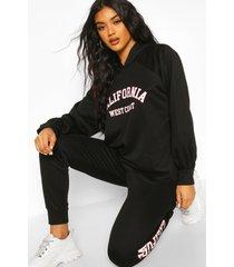 california slogan hoodie tracksuit, black