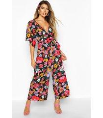 bright floral culotte jumpsuit, black