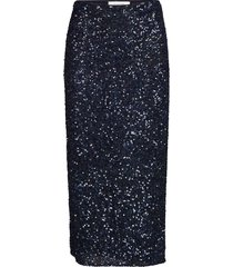 siralie long sequin skirt knälång kjol blå andiata
