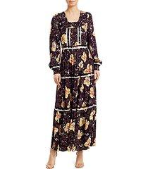 bell-sleeve floral maxi dress