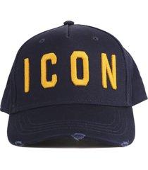 dsquared2 icon distressed cotton baseball hat