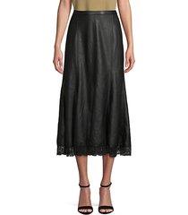 lace-trim faux leather midi skirt