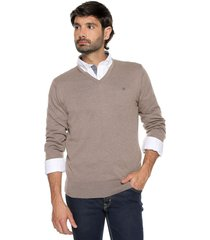 sweater café 105 preppy m/l c/v tejido delgado