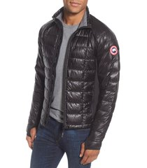 canada goose 'hybridge(tm) lite' slim fit packable jacket, size small in black/graphite at nordstrom