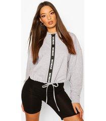 oversized taping zip up drawstring hoodie, grey marl