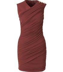 draped buttons dress