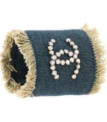 chanel pre-owned rhinestone-embellished denim cuff bracelet - blue
