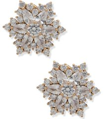 anne klein crystal starburst button clip-on earrings