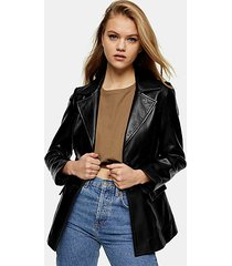 black leather blazer - black