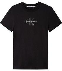camiseta slim con logo de purpurina negro calvin klein