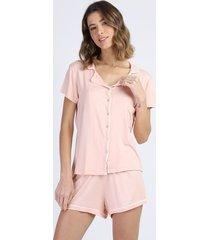 pijama feminino com bolso e botões manga curta rosa claro