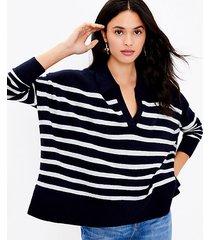 loft striped polo poncho sweater