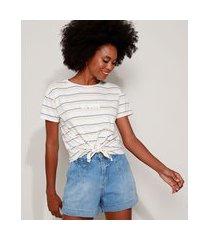 "camiseta feminina listrada be good"" com nó manga curta decote redondo branca"""