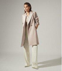 reiss mandie - contrast collar overcoat in neutral, womens, size 12