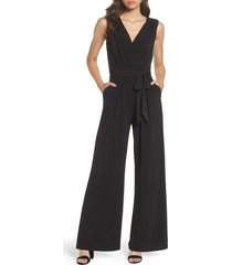 vince camuto faux wrap jersey jumpsuit, size small in black at nordstrom
