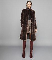 reiss joy - shearling reversible coat in chocolate, womens, size xl