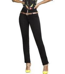 jeans colombiano control de abdomen negro bartolomeo