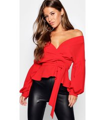 petite off the shoulder blouse, red