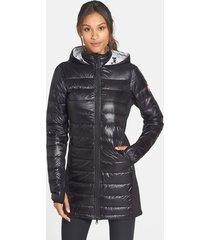 women's canada goose hybridge lite hooded packable down coat, size x-small (0) - black