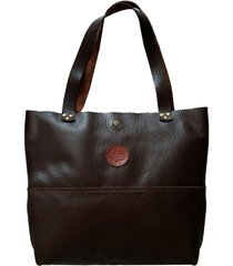 bolsa line store leather shopping bag marrom escuro