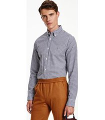 tommy hilfiger men's slim fit organic cotton gingham shirt navy/white - xs