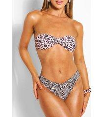 contrast animal bandeau bikini & scrunchie, brown