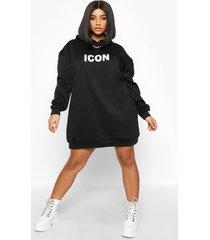 plus oversized 'icon' sweatshirt jurk met capuchon, zwart