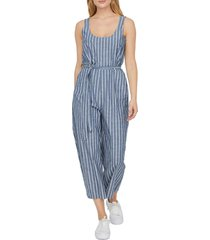 women's vero moda dotti stripe chambray crop jumpsuit