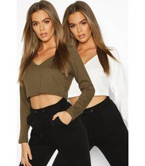 2 pack v neck long sleeve t-shirt, olive