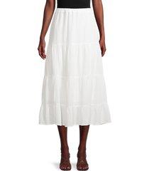 calvin klein women's gauze textured tiered skirt - soft white - size s