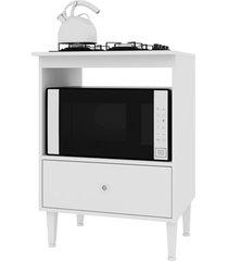 balcão com gavetão para forno e cooktop 4 bocas dubai branco art in móveis