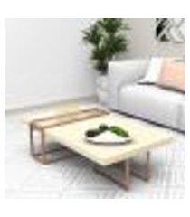 mesa de centro tubular bronze madeirado claro mdf lilies móveis