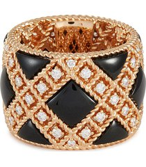 palazzo ducale diamond black jade 18k rose gold ring