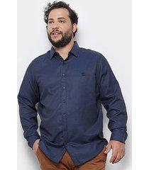 camisa social delkor plus size masculina