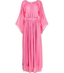 baruni frayed-edge belted-waist dress - pink