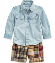 polo ralph lauren baby boys cotton shirt, belt & shorts set