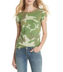 women's free people camo clare tee, size x-large