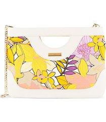floral-print canvas clutch bag