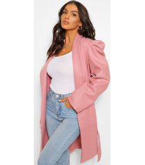 puff shoulder wool look coat, blush