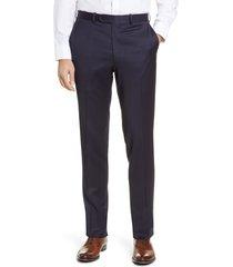 men's peter millar harker flat front solid stretch wool dress pants, size 42 - blue