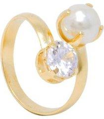 anel 2 pedras semijoia banho de ouro 18k zirconia e perola ajustavel