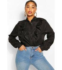 plus blouse met ruches, zwart
