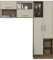 armário multiuso jaeli versatile, 2 peças, nogal e off white