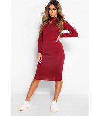 petite roll neck long sleeve midi dress, berry