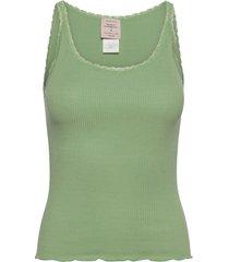 cotton top regular w/ lace t-shirts & tops sleeveless grön barbara kristoffersen by rosemunde