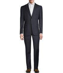 hickey freeman men's milburn iim series regular-fit check wool suit - blue - size 48 r